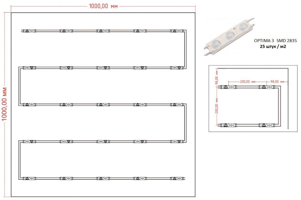 Таблица освещенности на поверхности светового короба при использовании светодиодного модуля с линзой OPTIMA 3 в количестве 25 шт/м2