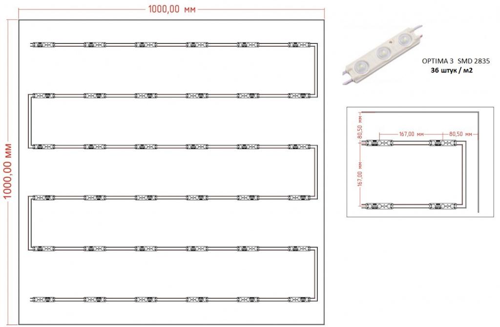 Таблица освещенности на поверхности светового короба при использовании светодиодного модуля с линзой OPTIMA 3 в количестве 36 шт/м2